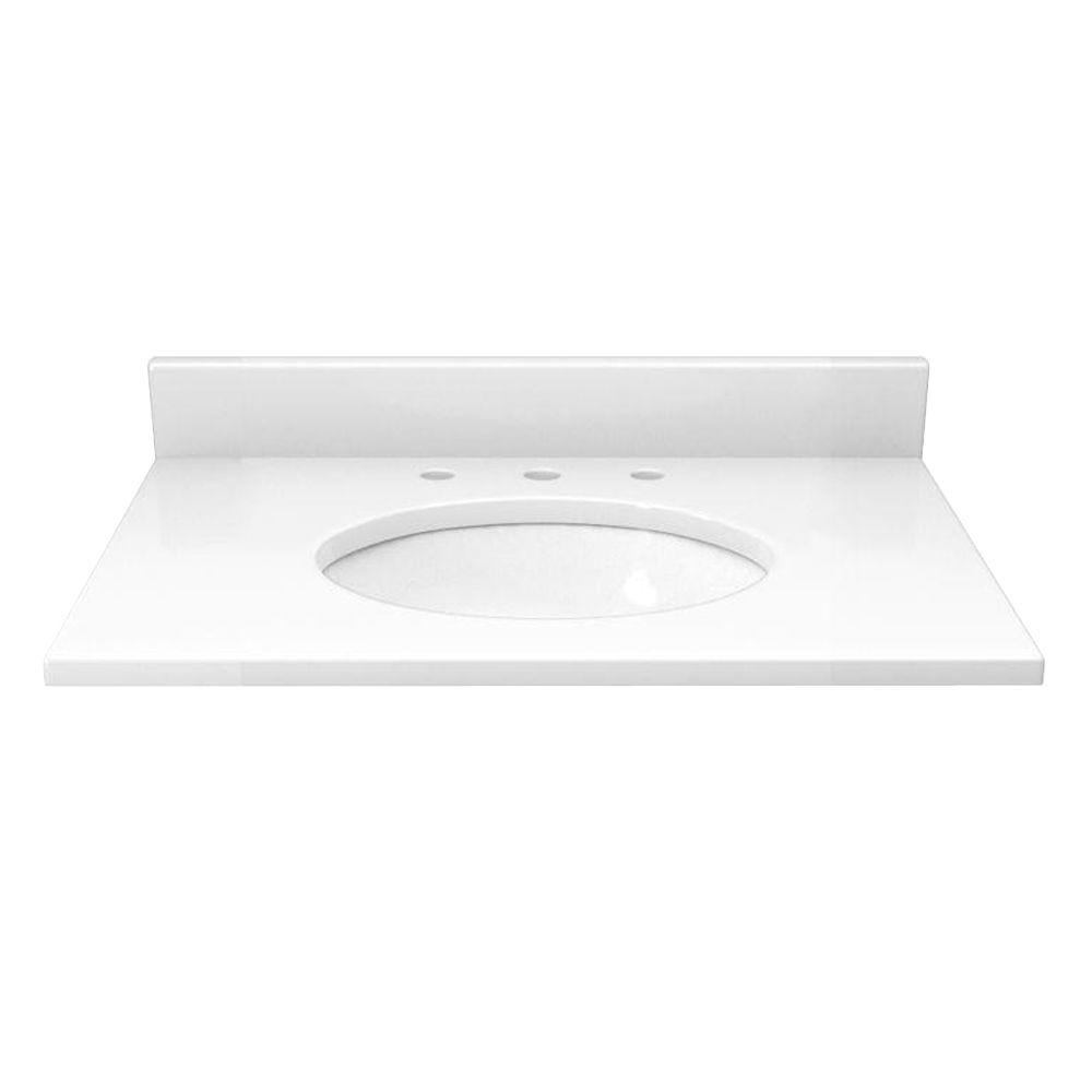 Solieque 25 in. Quartz Vanity Top in Hushed White with White Basin