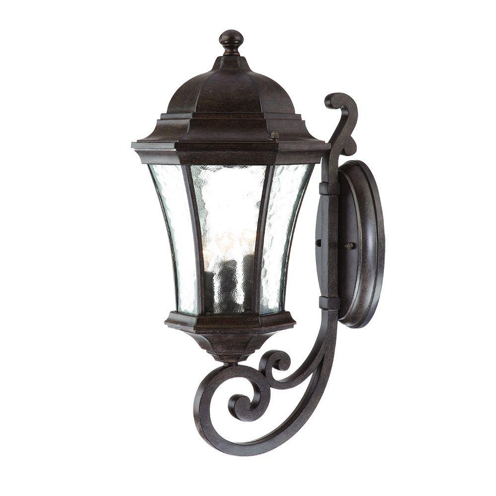 Waverly Collection Wall-Mount 3-Light Outdoor Black Coral Light Fixture