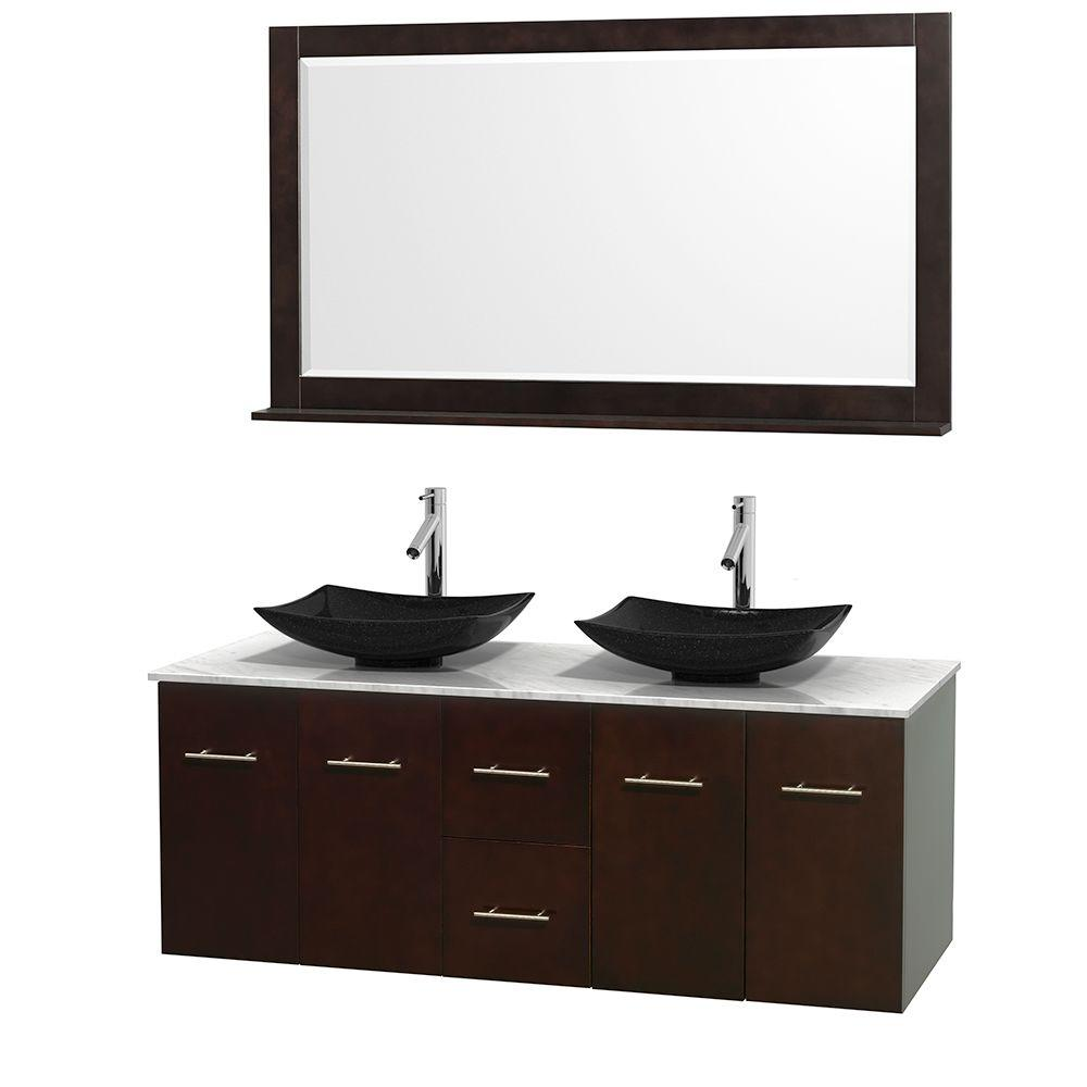 Wyndham Collection Centra 60 in. Double Vanity in Espresso with Marble