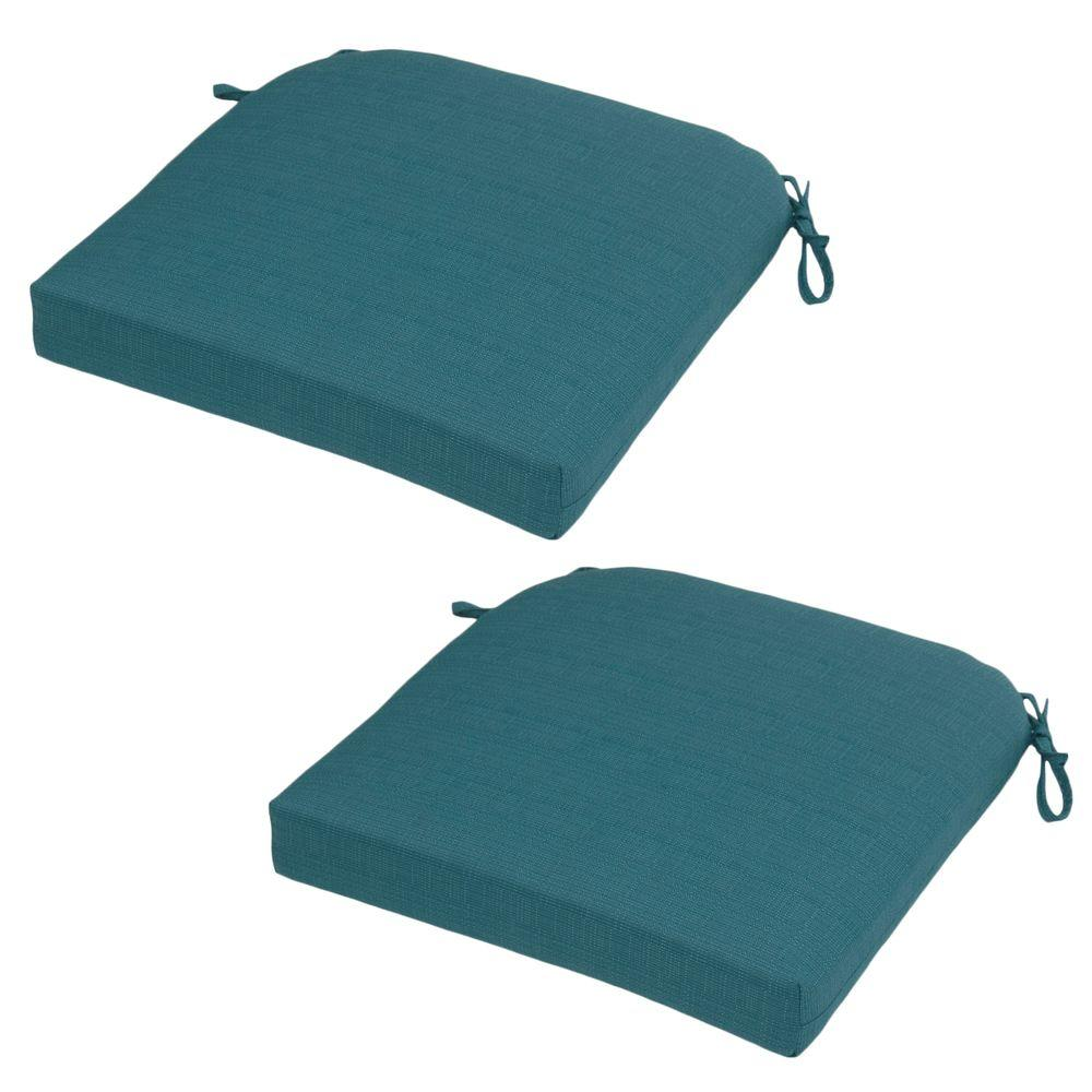 Hampton Bay Mediterranean Solid Rapid-Dry Deluxe Outdoor Seat Cushion (2-Pack)