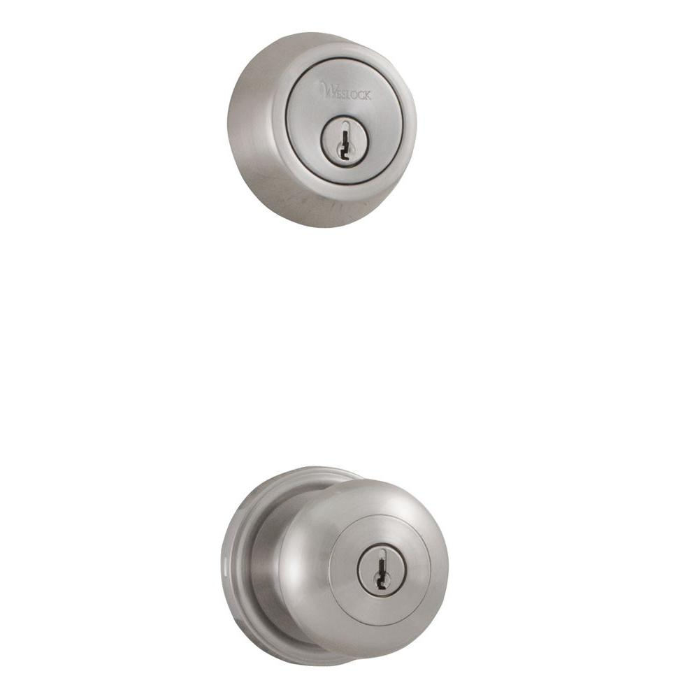 Traditionale Impresa Keyed Entry/Single Cylinder Deadbolt Combo in Satin Nickel