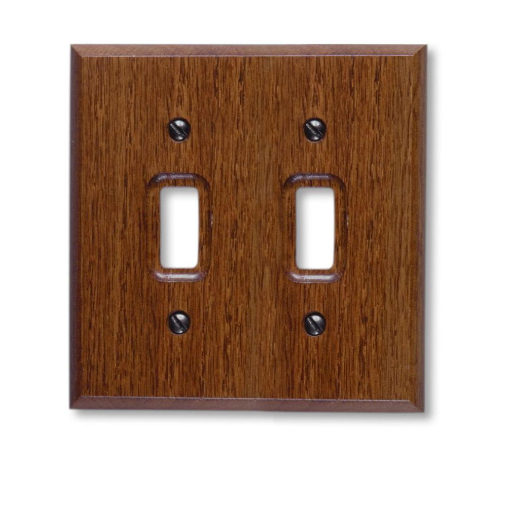 2 Toggle Wall Plate - Red Oak