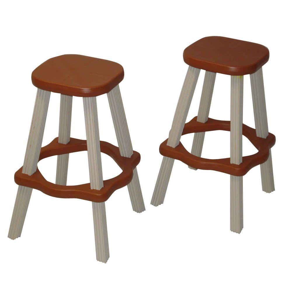 Leisure accents 26 in redwood resin patio high bar stools set of 2 shop your way online Home depot wood bar stools