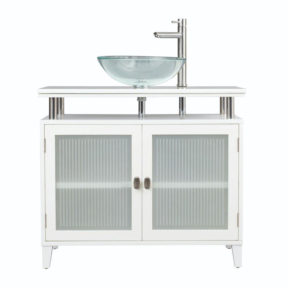 Home Decorators Collection Moderna 36 in. Vanity in White with Marble Vanity Top in White and Glass Basin