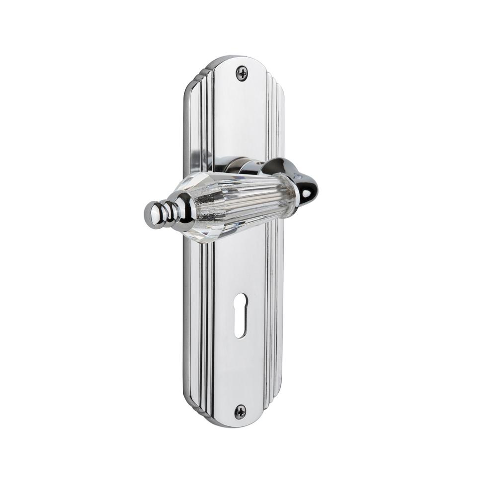 Deco Plate Interior Mortise Parlor Lever in Bright Chrome
