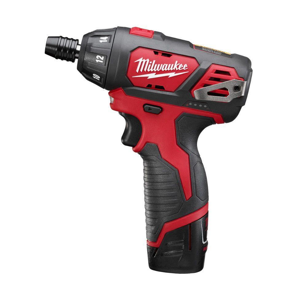 Milwaukee M12 12-Volt Lithium-Ion 1/4 in. Hex Cordless Screwdriver Kit-2401-22 -
