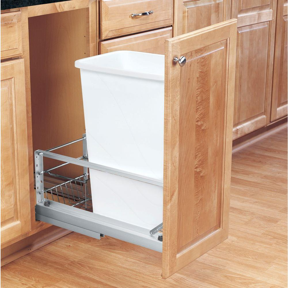 Rev-A-Shelf 23.13 in. H x 10.75 in. W x 21.94 in. D Single 50 Qt. Pull-Out Brushed Aluminum and White Waste Container