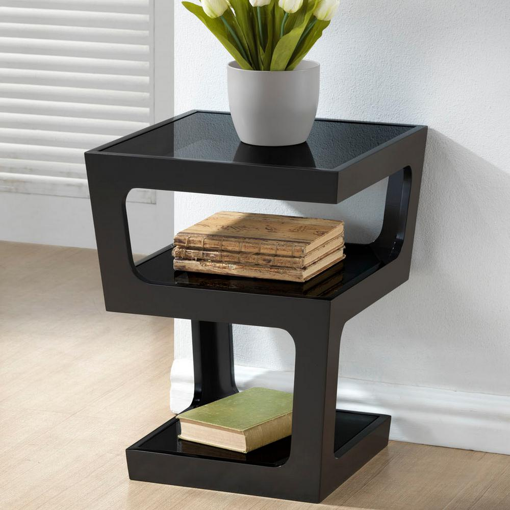 Clara Black Glass Top End Table