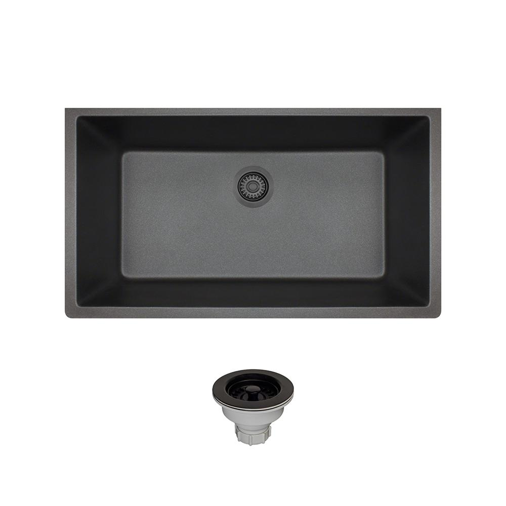 All-in-One Undermount Composite 32-5/8 in. Single Bowl Kitchen Sink in Black