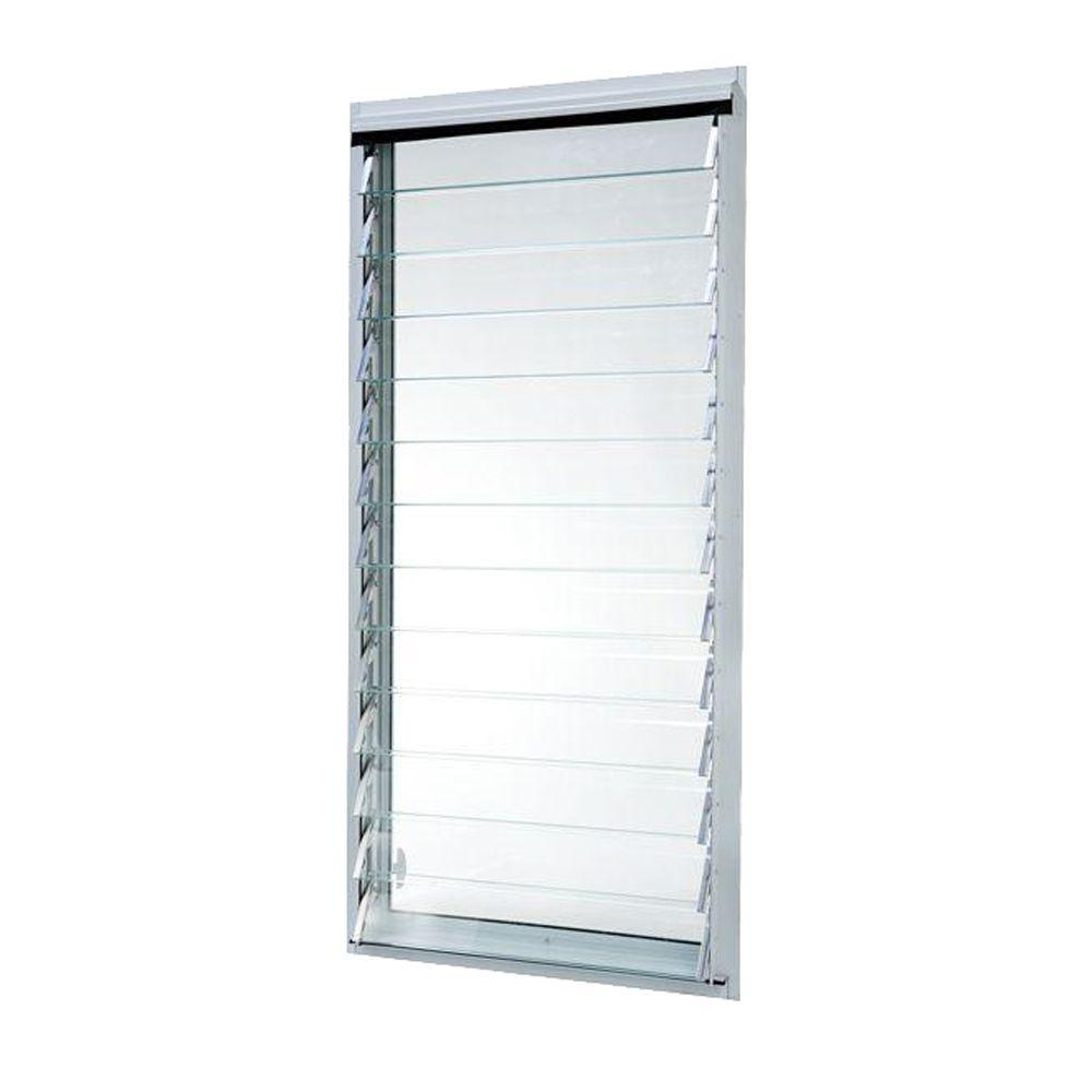 TAFCO WINDOWS 23 in. x 47.875 in. Jalousie Utility Louver Aluminum Screen Window - White