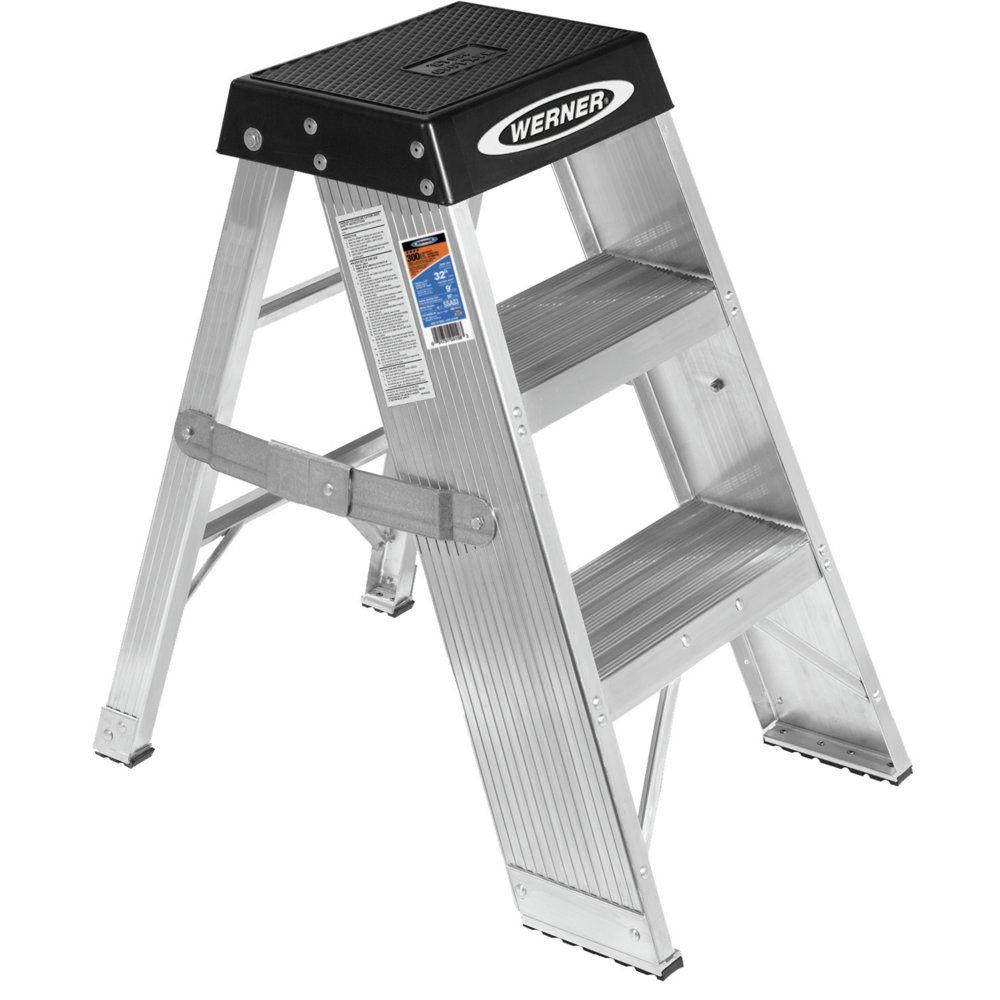 Werner 3 Ft Aluminum Step Ladder With 375 Lb Load