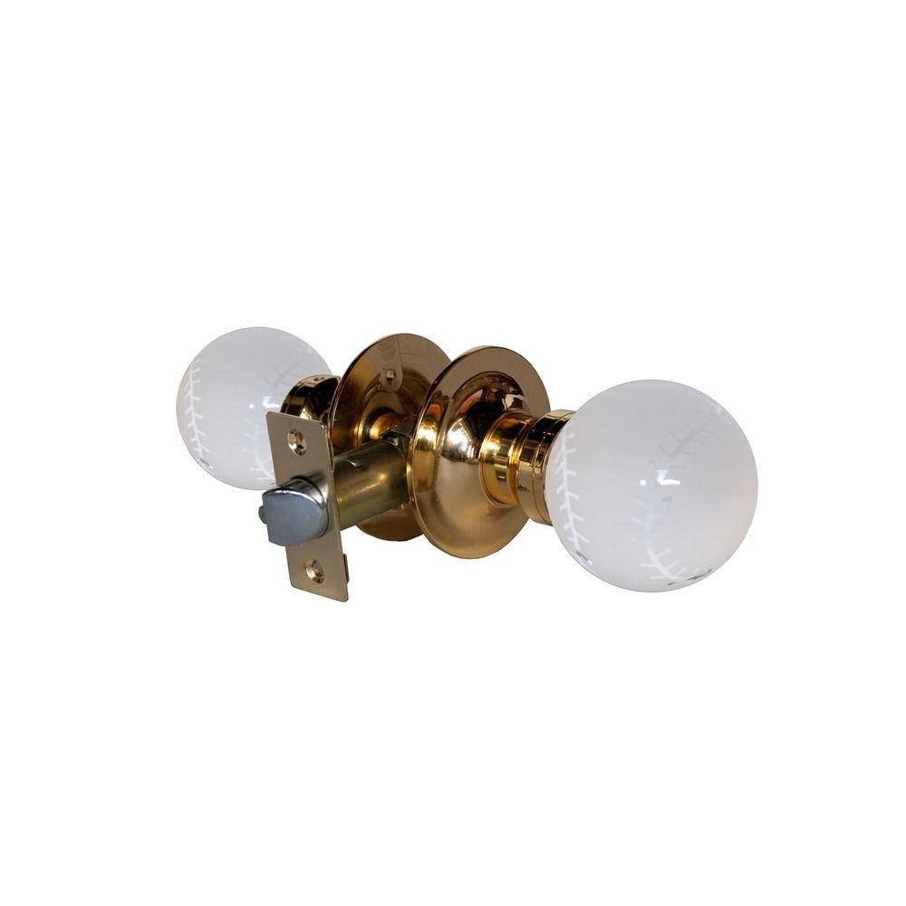 Krystal Touch of NY Baseball Crystal Brass Passive Door Knob with LED Mixing Lighting Touch Activated