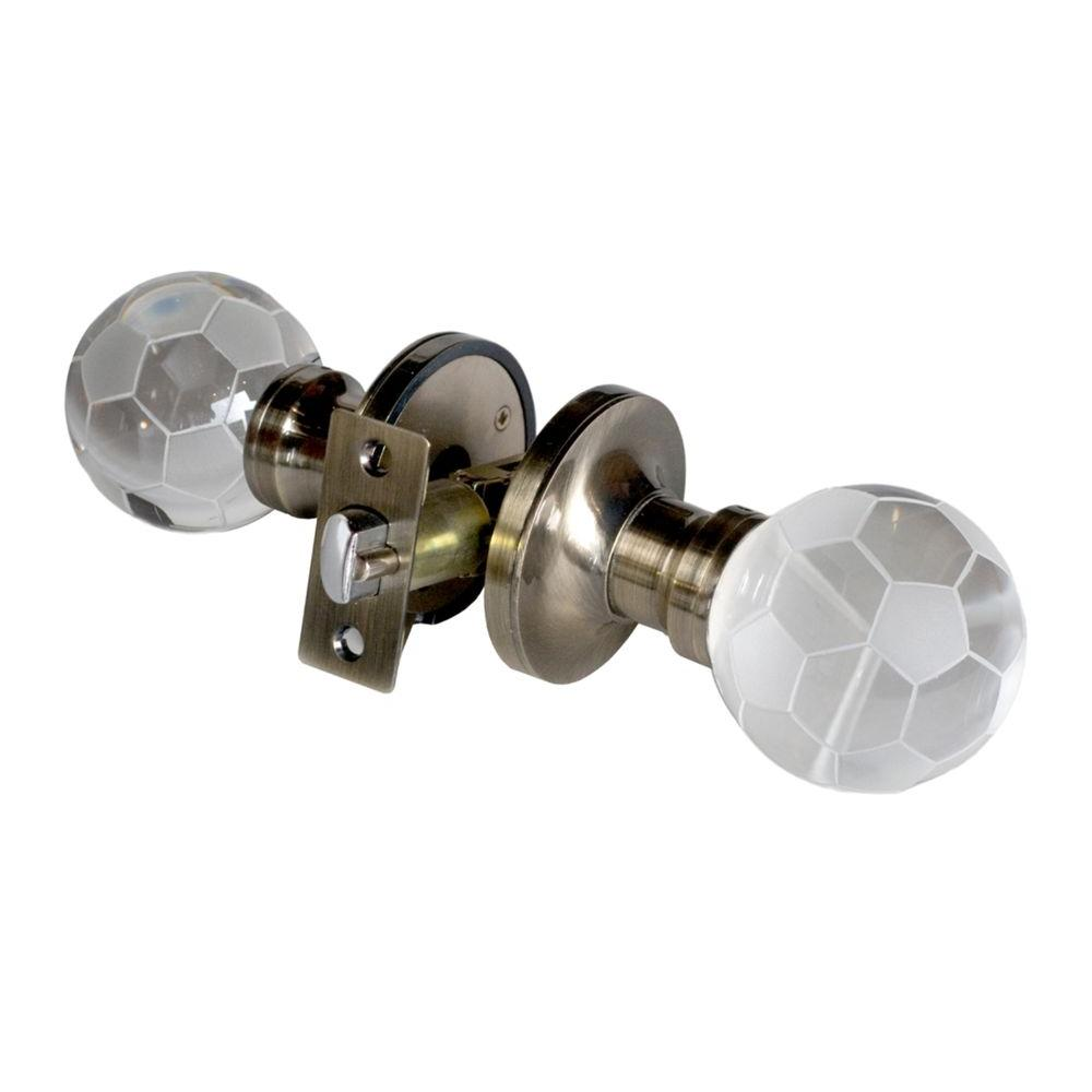 Krystal Touch of NY Soccer Ball Crystal Antique Brass Privacy Door
