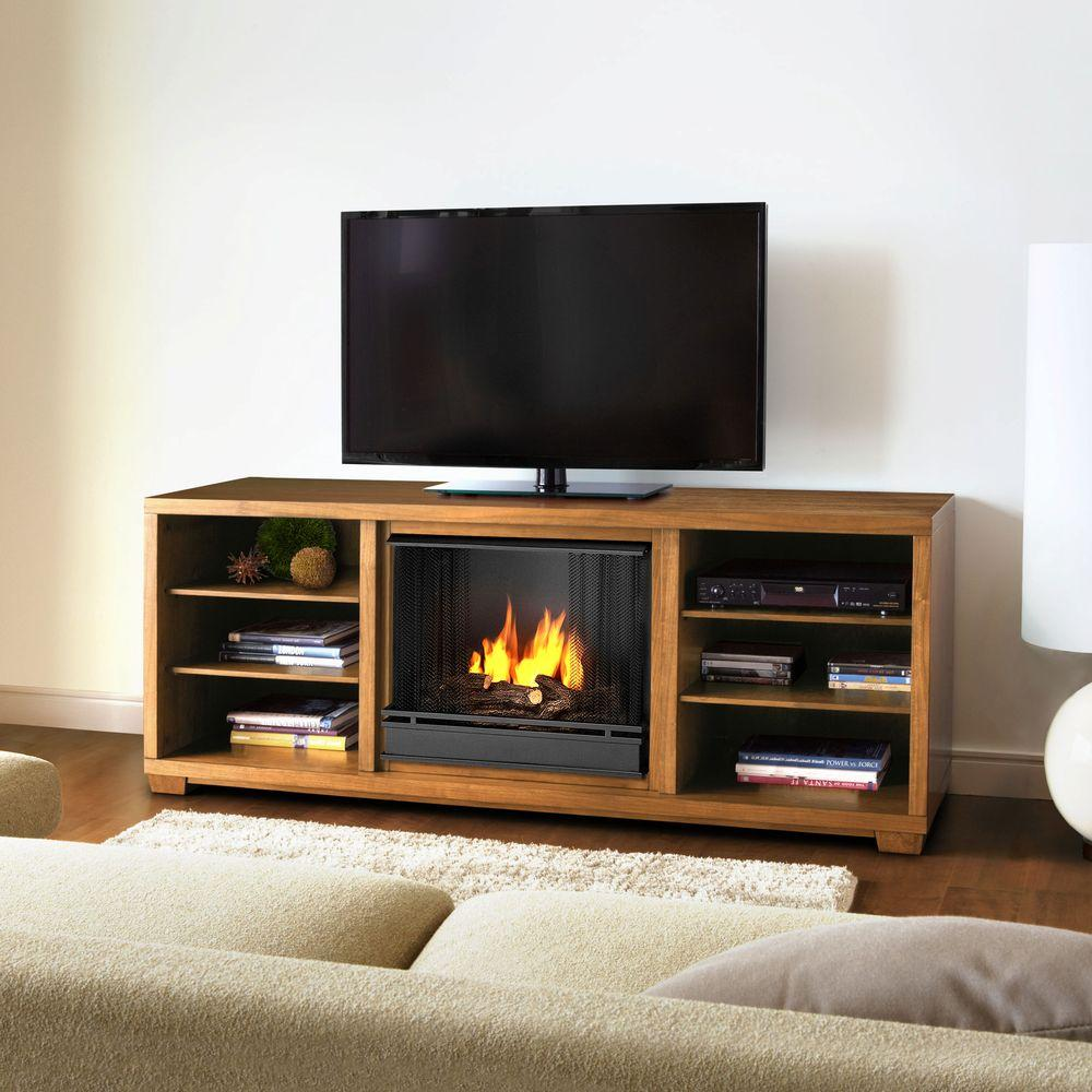 Real Flame Marco 70 in. Media Console Gel Fuel Fireplace in Walnut