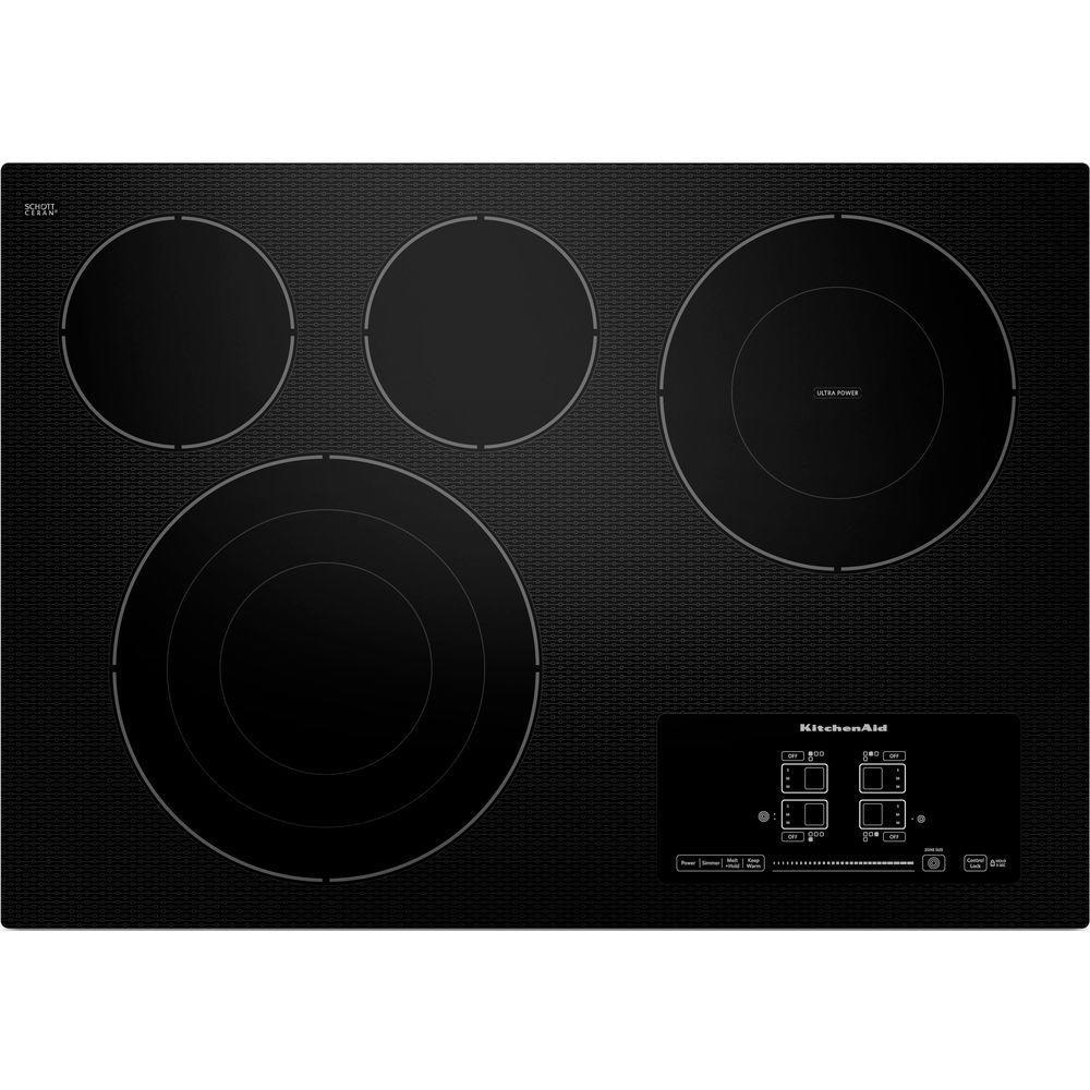 KitchenAid 30 in. Ceramic Glass Electric Cooktop in Black with 4 Elements including Tri-Ring and Double-Ring Elements
