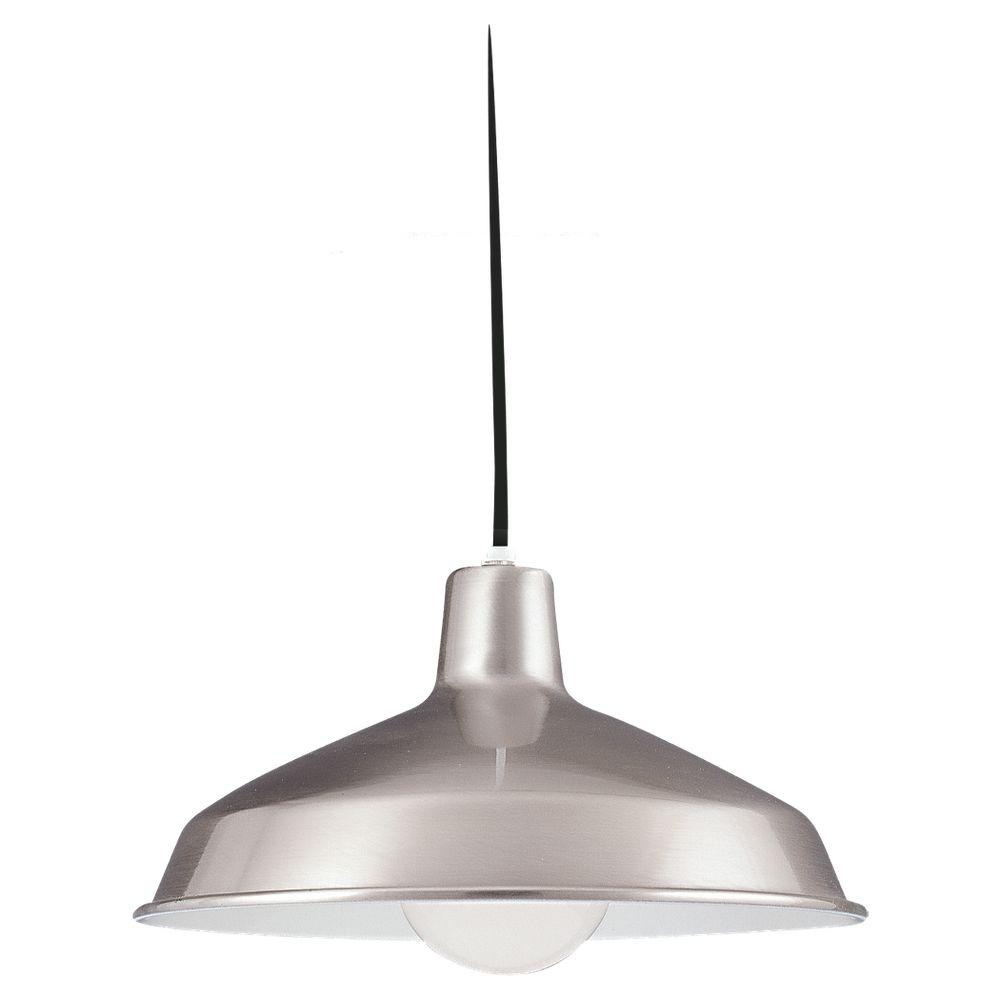 Sea Gull Lighting Painted Shade 1-Light Brushed Stainless Pendant