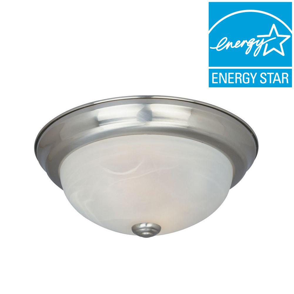 Shelley Collection 3-Light Satin Platinum Fluorescent Ceiling Compact Flushmount