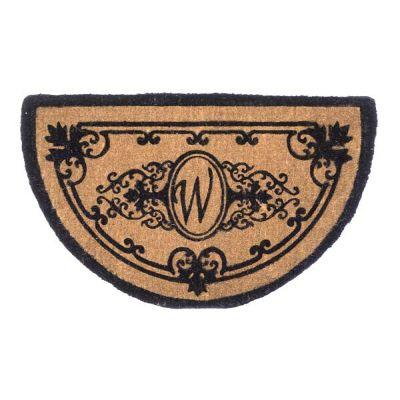 Perfect Home Hamilton Half Circle Monogram Mat, 18 in. x 30 in. x 1.5 in. Monogram W-DISCONTINUED
