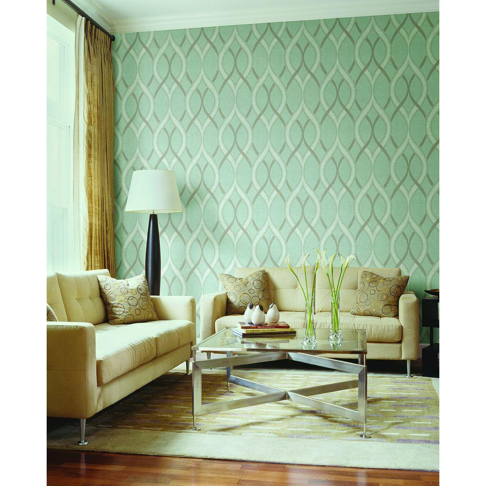 Living room wallpaper samples - Frequency Turquoise Ogee Wallpaper Sample