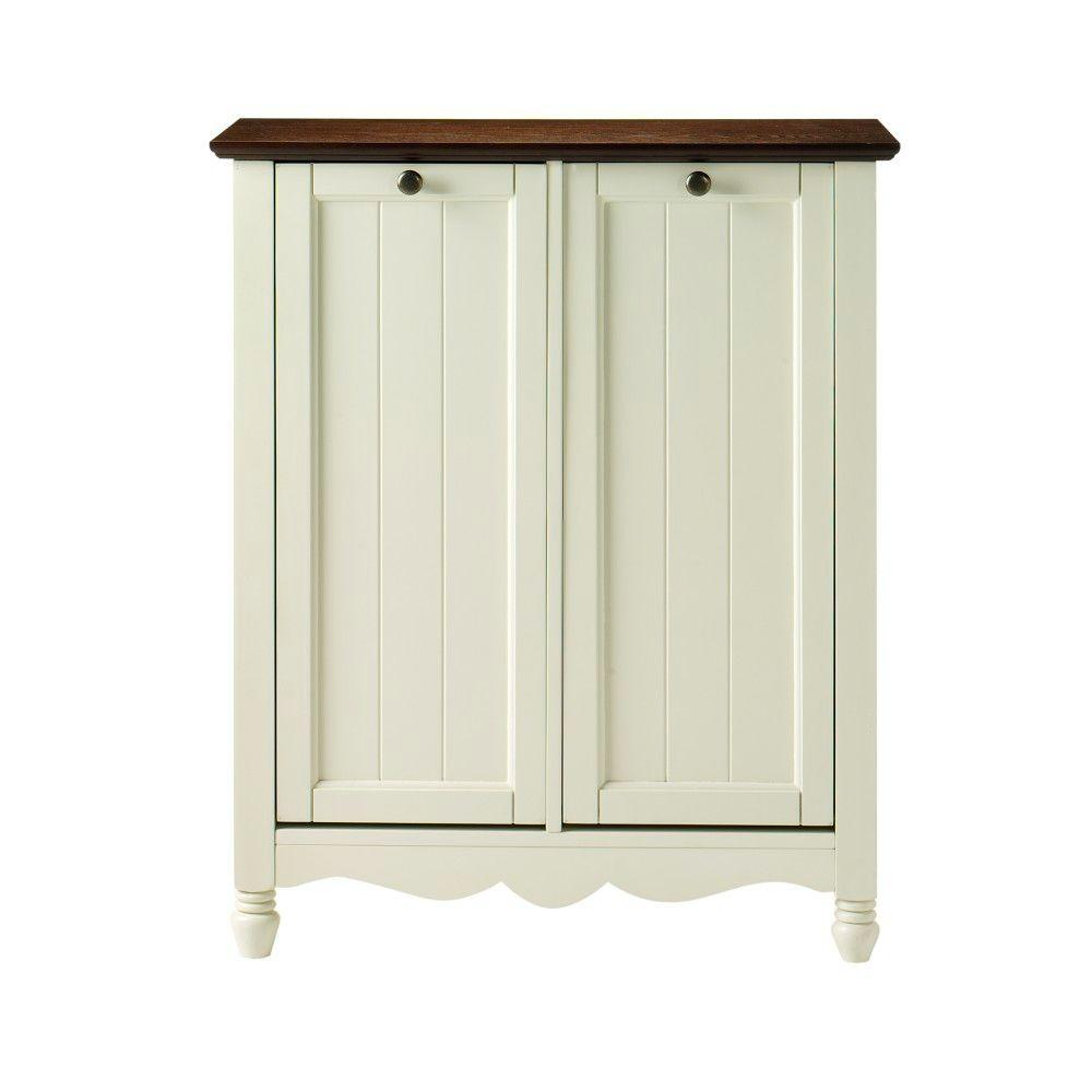 Home Decorators Collection Southport 26 in. W Ivory and Oak Double Door Tilt-Out Laundry Hamper