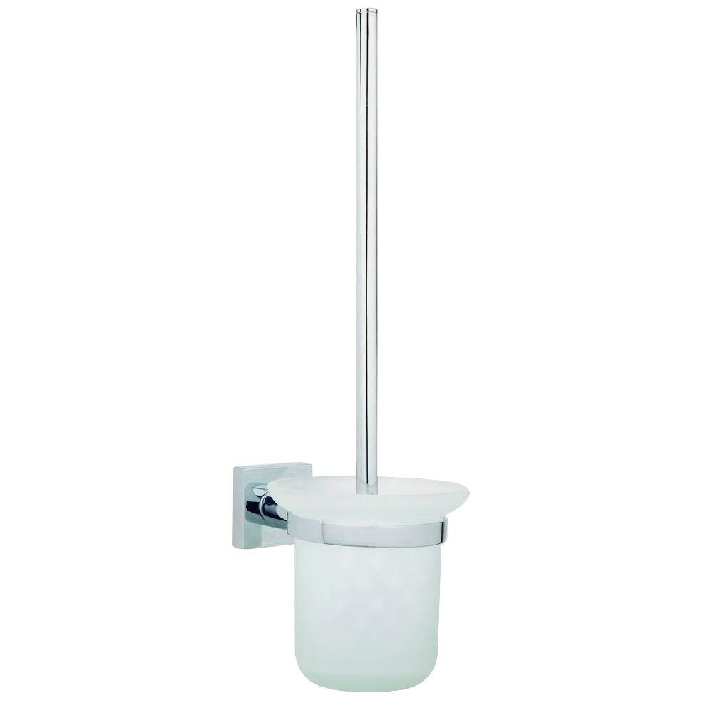 No Drilling Required Hukk Wall Mount Toilet Bowl Brush Set-Frosted Glass Holder in Chrome, Chrome And Frosted Glass