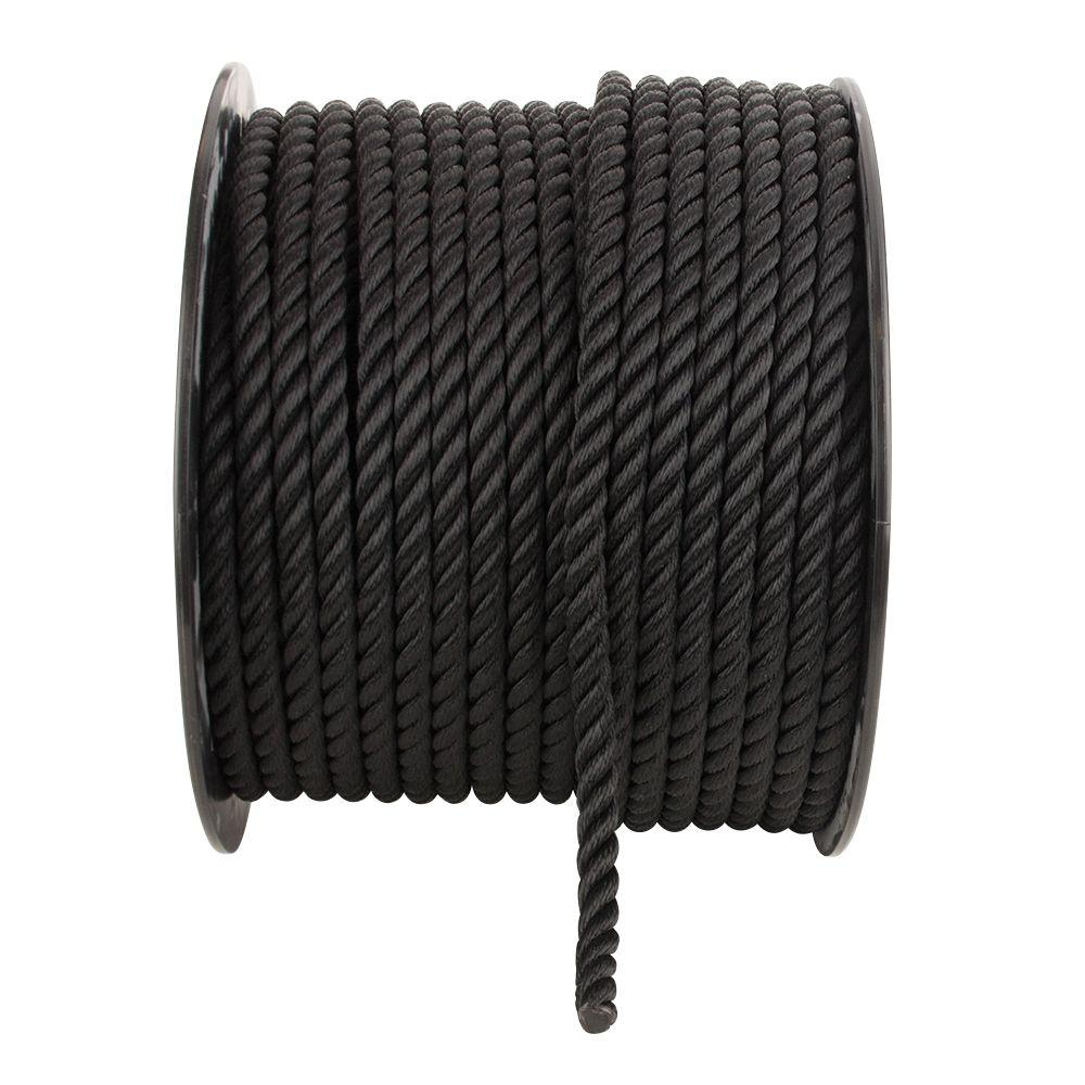 Everbilt 1/2 in. x 1 ft. Black Twisted Nylon Rope-70446 -