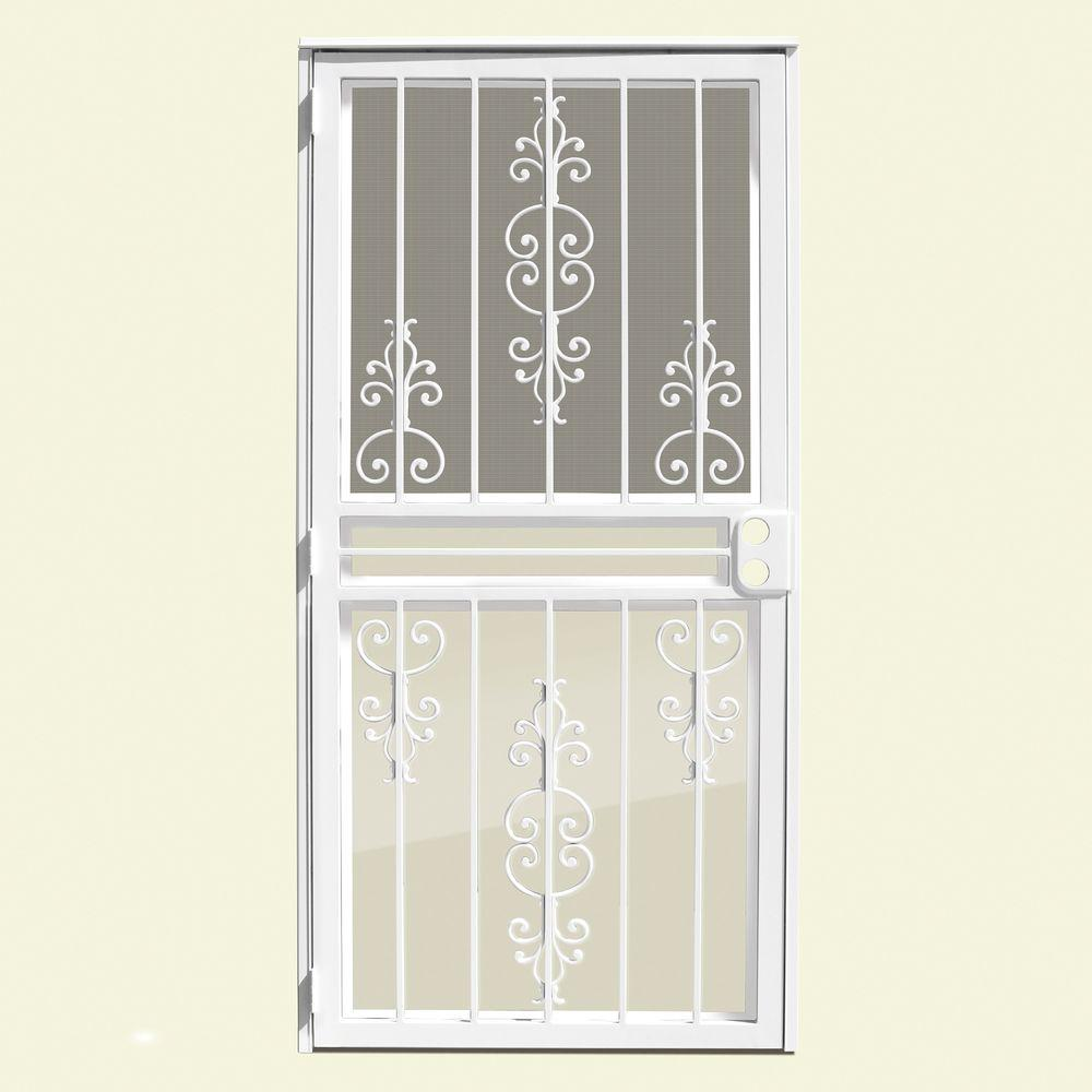 Estate White Recessed Mount All Season Security Door With Insect Screen And  Glass Inserts