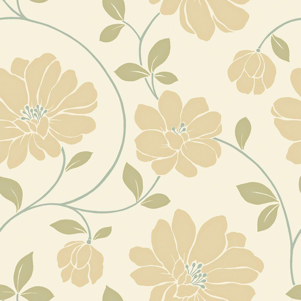 56 sq. ft. Ochre, Cream and Sage Large Scale Modern Floral Trail Wallpaper