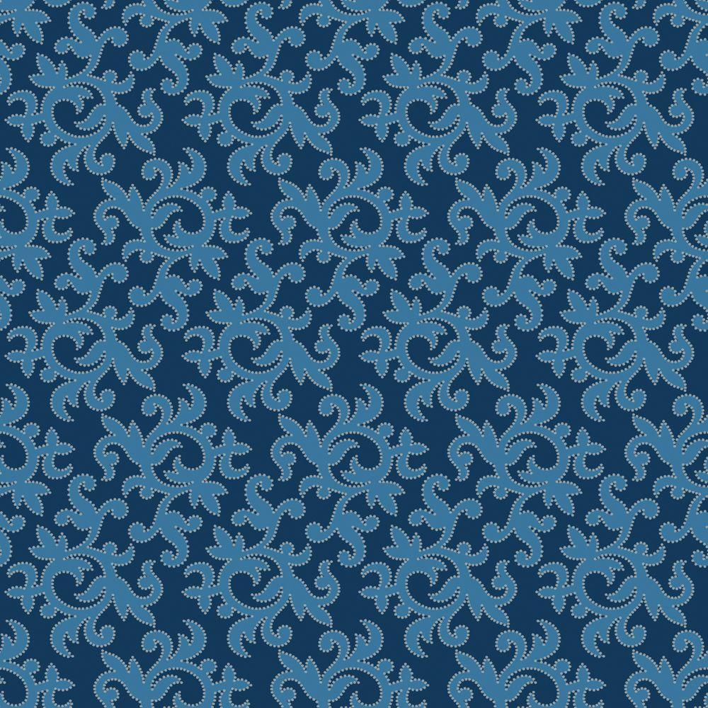 The Wallpaper Company 56 sq. ft. Blue All-Over Multi Swirl Print with Metallic Outline Wallpaper