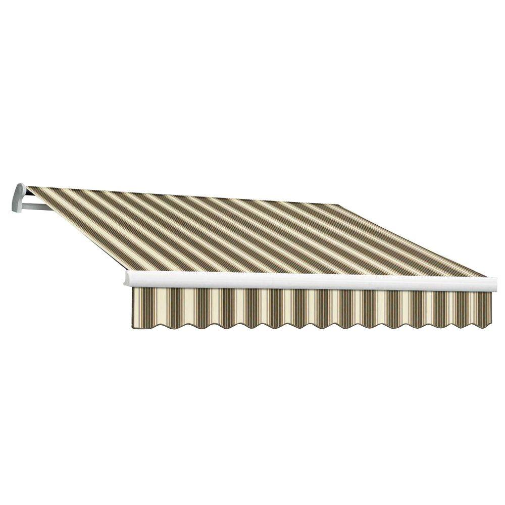 Beauty-Mark 20 ft. MAUI EX Model Manual Retractable Awning (120 in. Projection) in Brown and Tan Multi Stripe