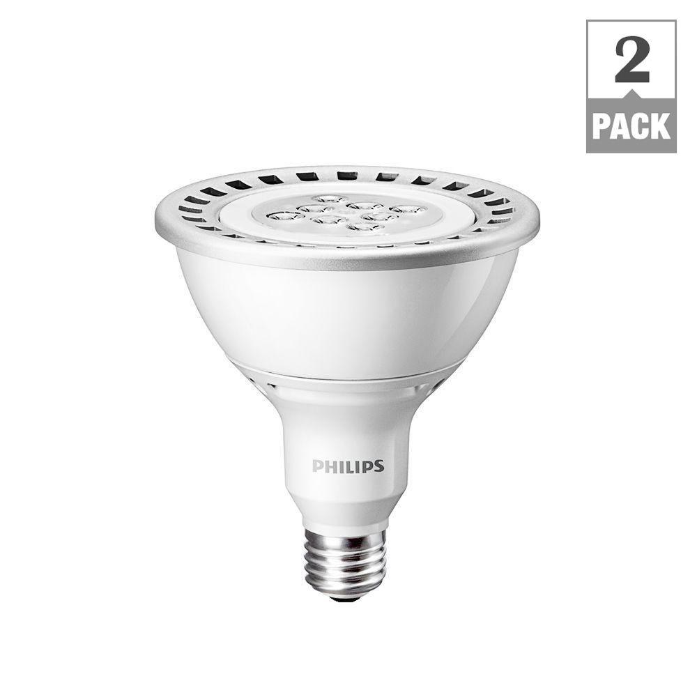 Philips 120W Equivalemt Soft White (2700K) PAR38 Dimmable LED Flood Light Bulb (E*) (2-Pack)-DISCONTINUED