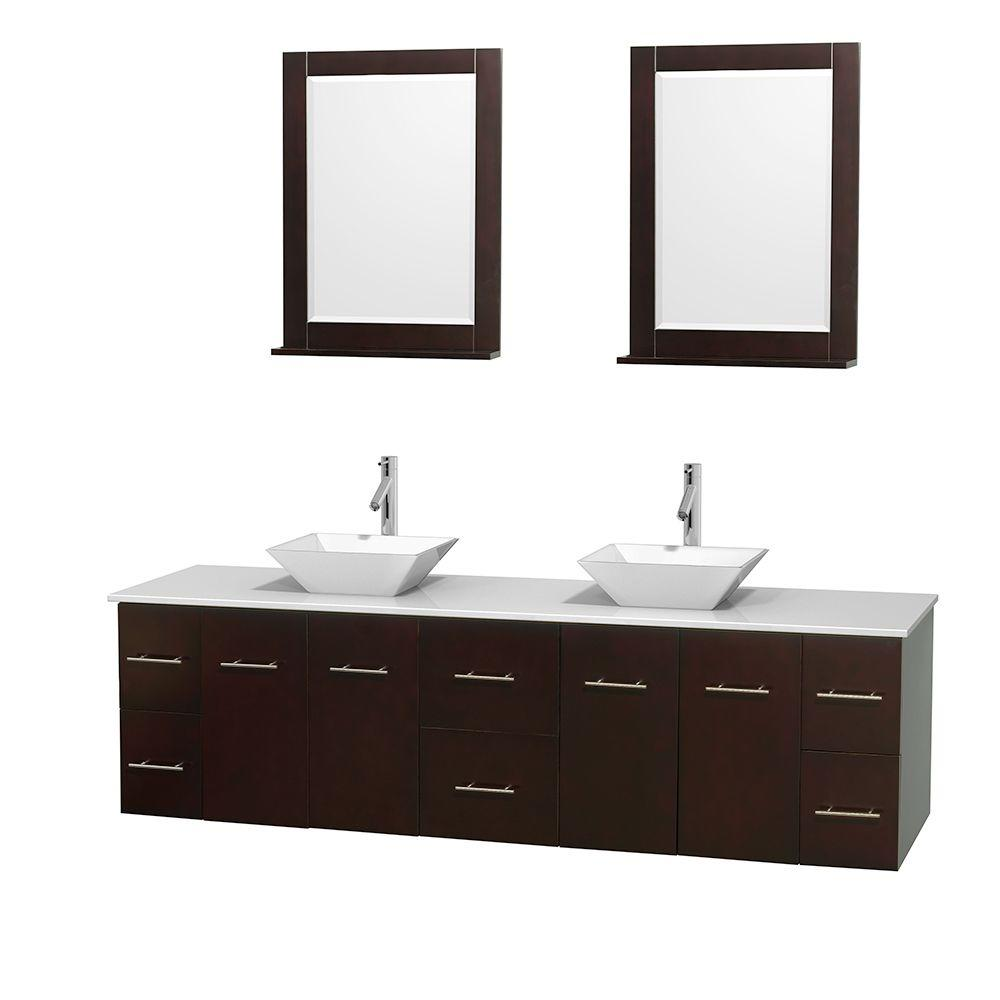 Wyndham Collection Centra 80 in. Double Vanity in Espresso with Solid-Surface Vanity Top in White, Porcelain Sinks and 24 in. Mirror