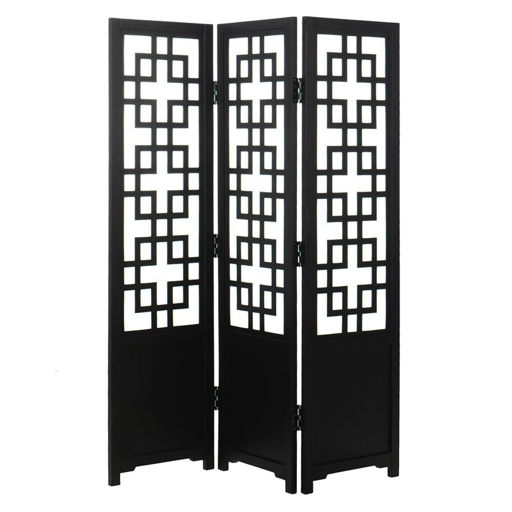 Home Decorators Collection Knot 3-Panel Black Room Divider-DISCONTINUED