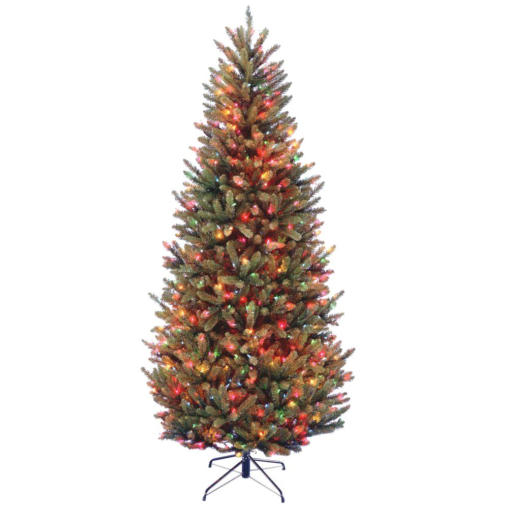 7-1/2 ft. Natural Fraser Slim Fir Hinged Artificial Christmas Tree with 600 Multicolor Lights, Greens