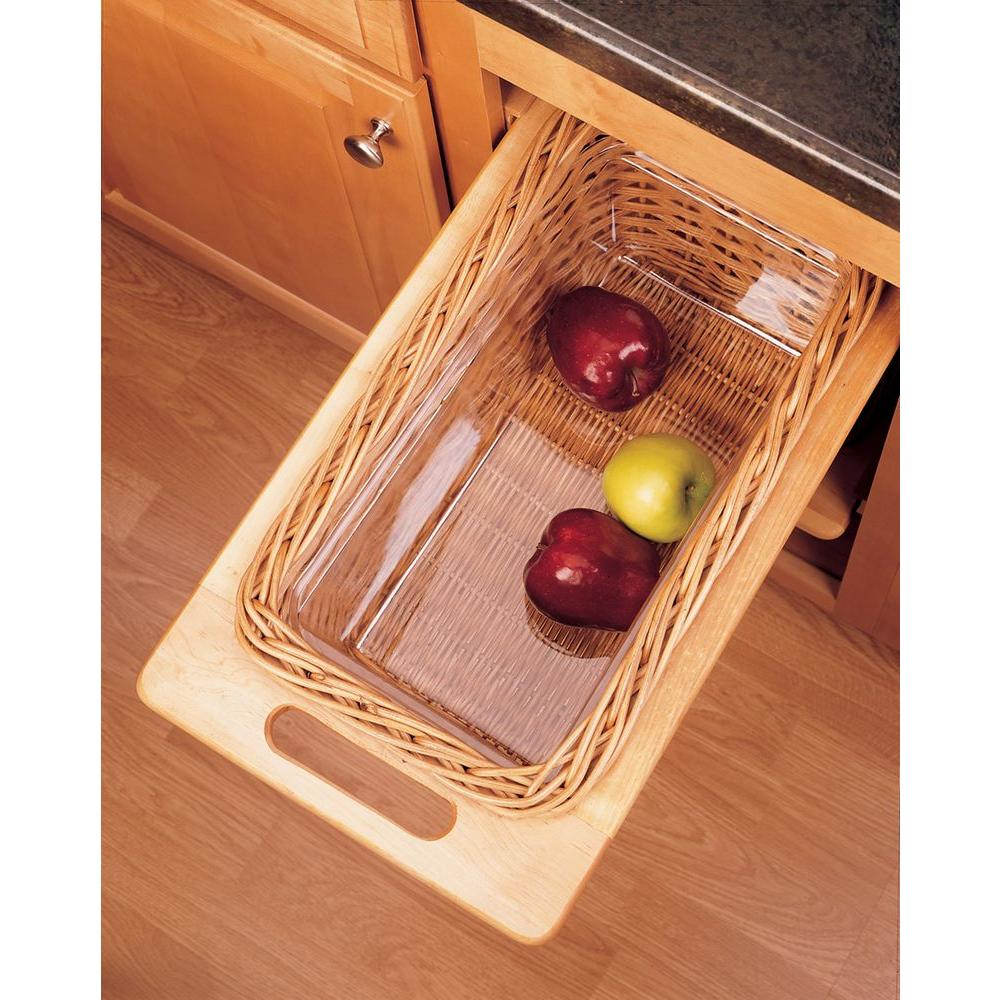 Rev-A-Shelf 11 in. Rattan Basket with Rails and Clear Plastic Liner-DISCONTINUED