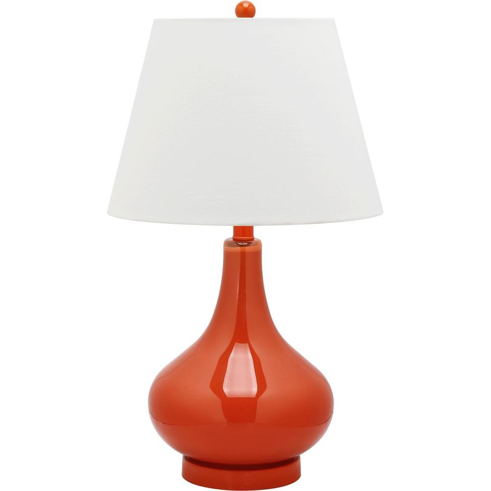 Amy 24 in. Blood Orange Double Gourd Glass Table Lamp with