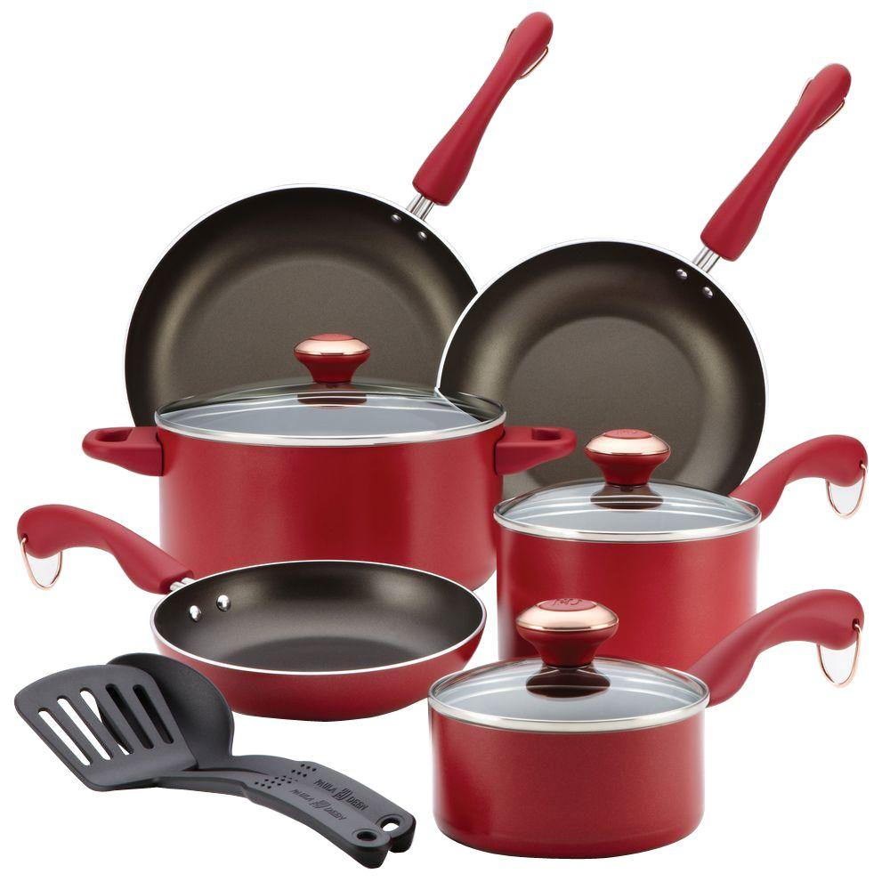Signature Dishwasher Safe Nonstick 11-Piece Cookware Set in Red