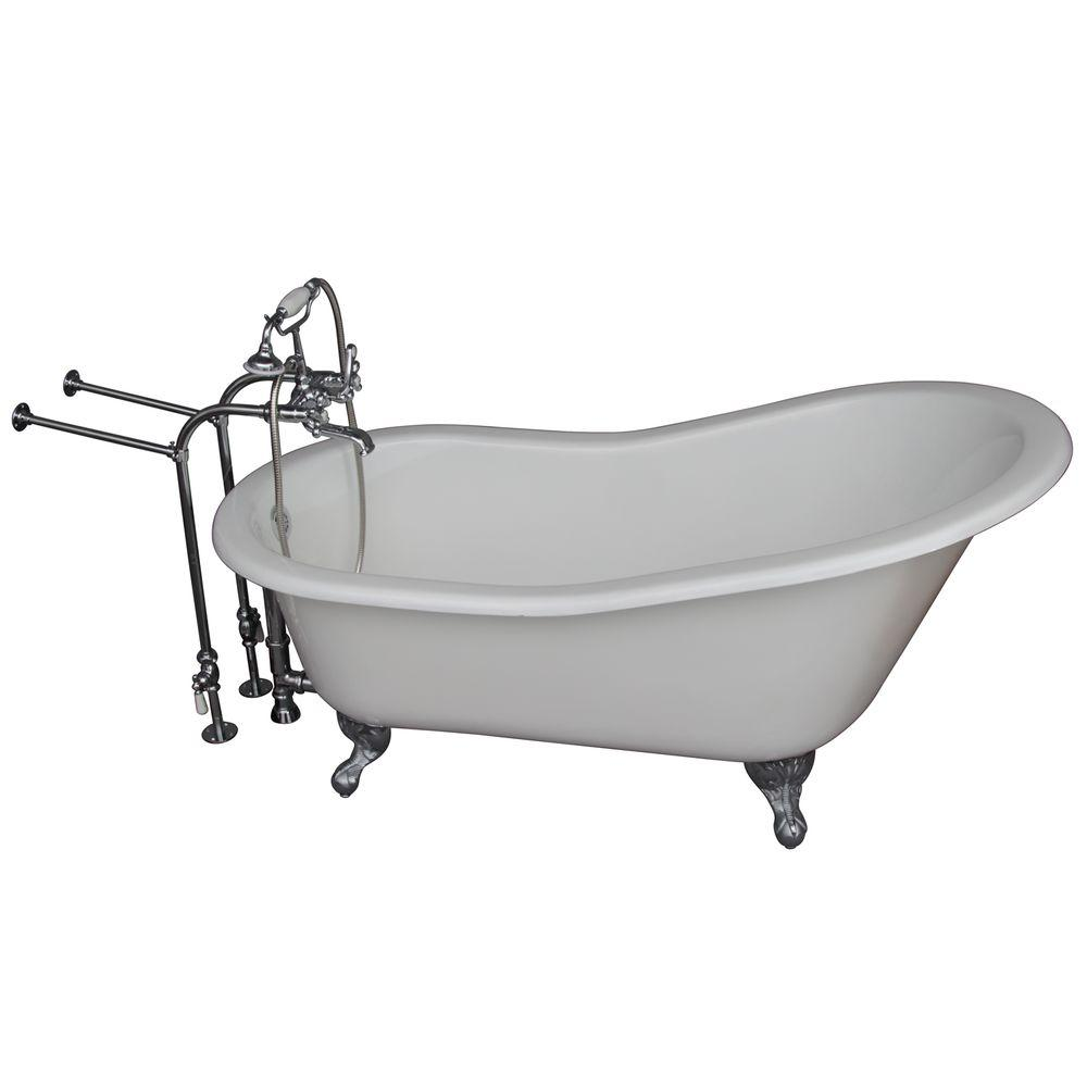 Barclay Products 5.6 ft. Cast Iron Ball and Claw Feet Slipper Tub in White with Polished Chrome Accessories
