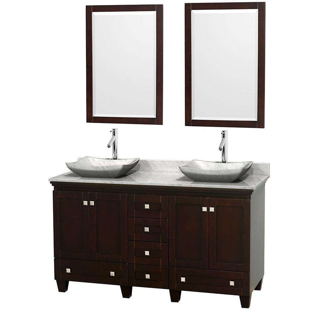 Wyndham Collection Acclaim 60 in. W Double Vanity in Espresso with Marble Vanity Top in Carrara White, White Carrara Sinks and 2 Mirrors