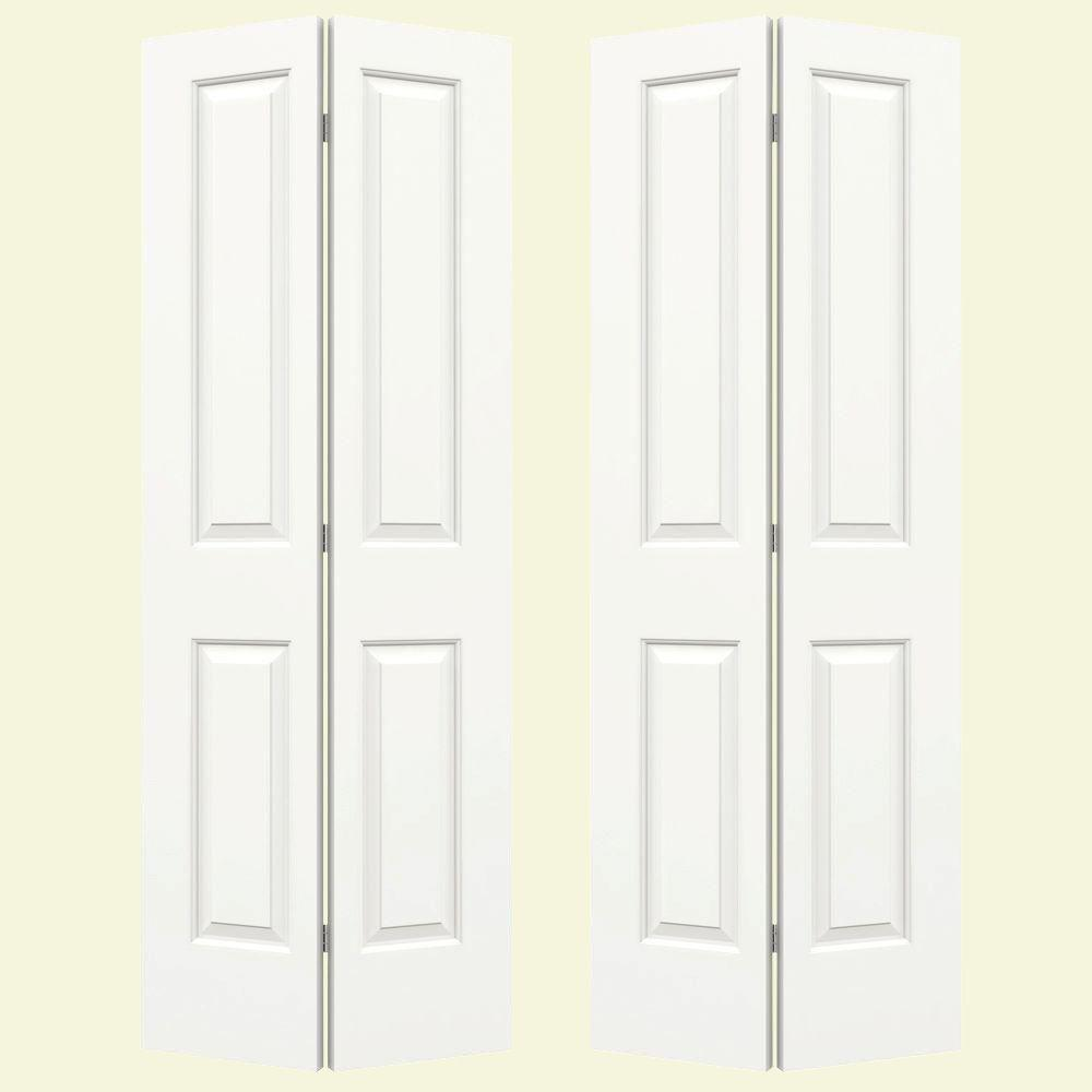 JELD-WEN 72 in. x 80 in. Molded Smooth 2-Panel Square Brilliant White Hollow Core Composite Bi-fold Door