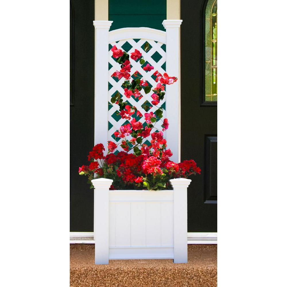 Eden Arbors Kensington 23 in. x 65 in. Planter Box and Trellis