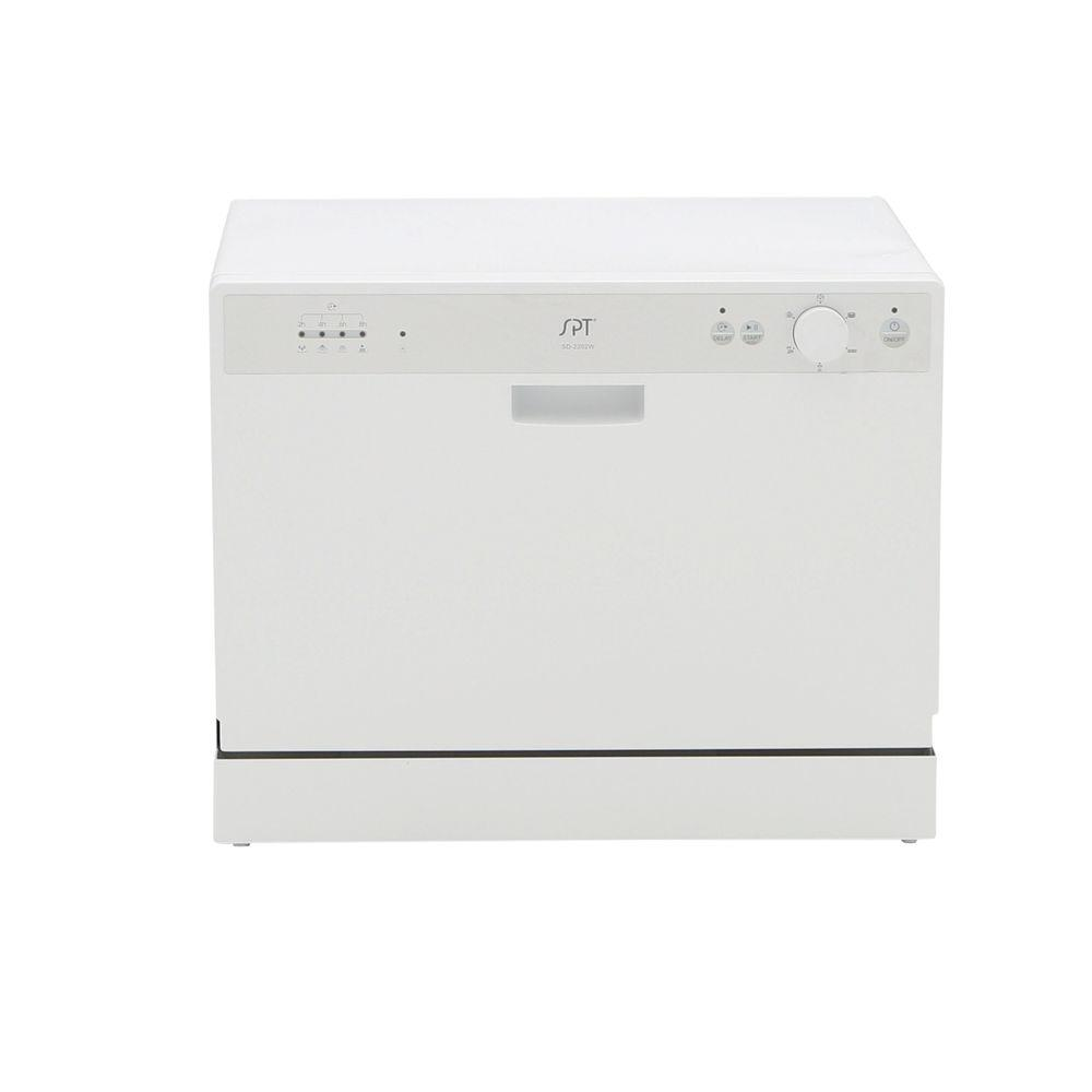 SPT Countertop Dishwasher in White with 6 Wash Cycles and Delay Start ...