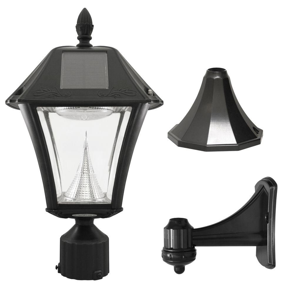 Gama Sonic Baytown II Outdoor Black Resin Solar Post/Wall Light with