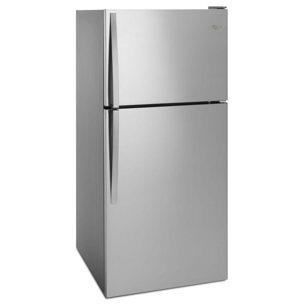 Whirlpool white ice top freezer refrigerator - Whirlpool 30 In W 18 2 Cu Ft Top Freezer Refrigerator In Monochromatic Stainless Steel Wrt318fzdm The Home Depot