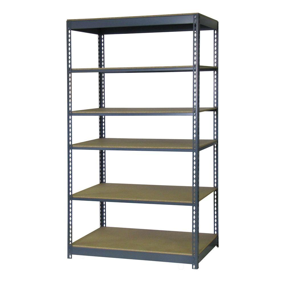 Edsal 84 in. H x 48 in. W x 12 in. D 6-Shelf Boltless Steel Shelving Unit in Gray