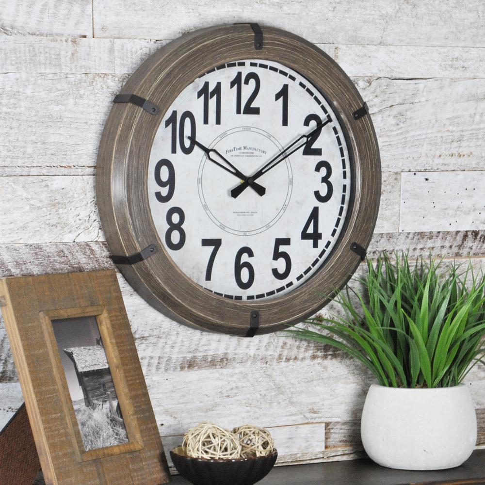 14 in. Round Modern Rustic Wall Clock