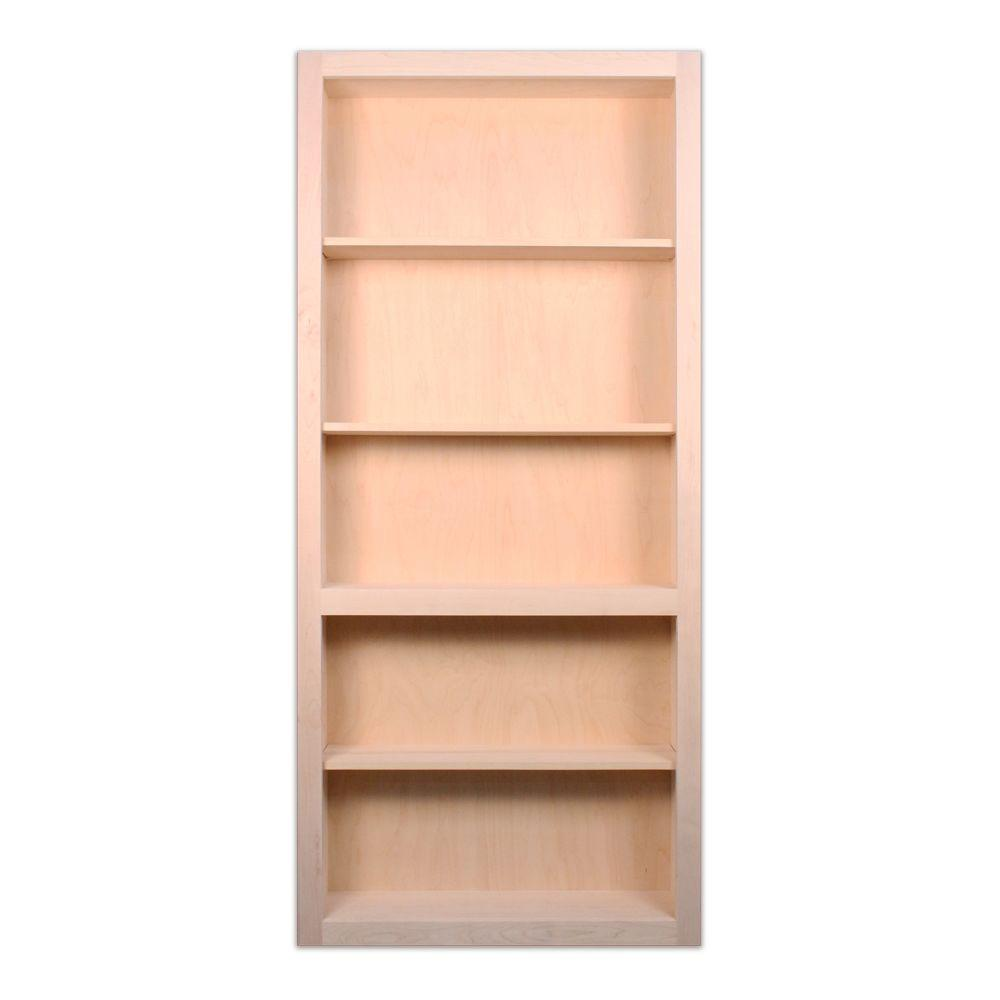 InvisiDoor 32 in. x 81 in. Unfinished Maple 4-Shelf Bookcase Interior