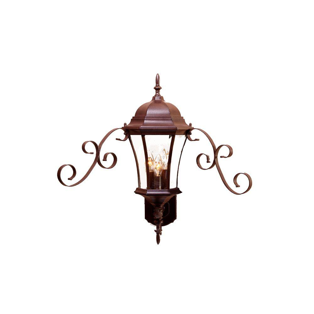 New Orleans Collection Wall-Mount 3-Light Outdoor Burled Walnut Light Fixture