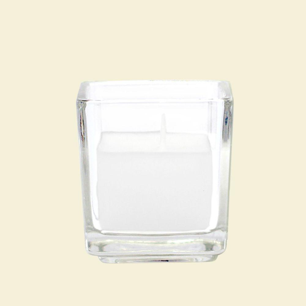 Zest Candle 2 in. White Square Glass Votive Candles (12-Box)