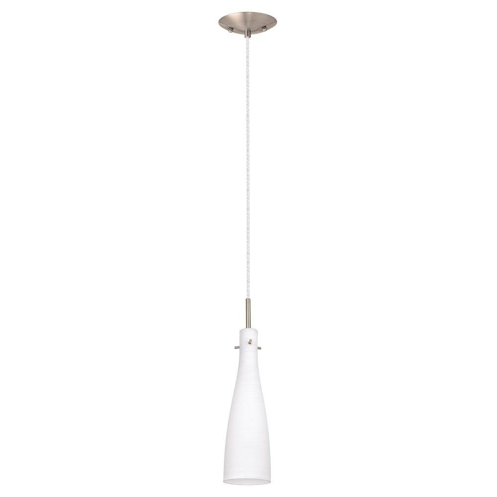 Kameo 1-Light Matte Nickel Ceiling Mount Pendant with White Glass Shade